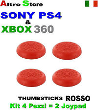 4 PEZZI ANALOGICO CONTROLLER DUALSHOCK THUMBSTICKS GRIPS ROSSO PS4 SONY XBOX360