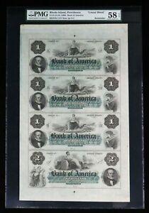 1860's PROVIDENCE, RI $1-$1-$1-$2 UNCUT SHEET BANK OF AMERICA PMG CHOICE AU 58