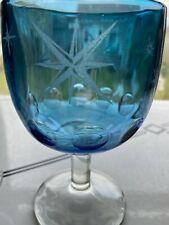 Vintage Bartlett Collins (2) Blue Thumbprint Goblet Wine Glass Atomic Starburst