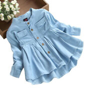 Toddler Kids Baby Girls Autumn Denim Long Sleeve Princess T-Shirt Clothes