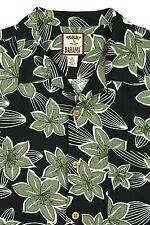 Vtg Mens TOMMY BAHAMA Short Sleeve Loop Collar Shirt MEDIUM Silk Black Floral