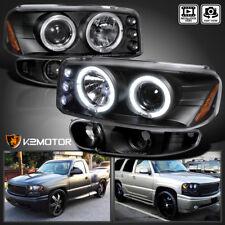 For 2000-2006 GMC Sierra Denali Halo Projector Headlights+Bumper Lamps Black