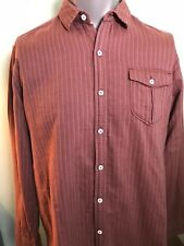 Tommy Bahama Jeans Mens XL Island Modern Fit Red Striped L/S Double Weave Shirt