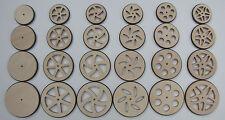 4 Stück im Set Holzräder Birke Multiplex  gummitbereift verschieden Durchmesser