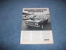 """1973 Fiat 128 SL Vintage Ad """"Mario Andretti Stoops to Test the $2,680...."""""""