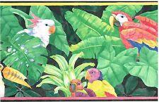 PARAKEETS, TROPICAL PLANTS DARK BACKROUND,YELLOW & PINK TRIM Wallpaper bordeR