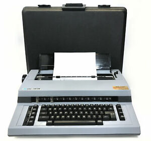 Vintage Swintec 1146 CM Blue Gray Portable Electronic Typewriter & Carrying Case
