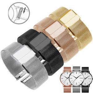 Épais Milanais Bracelet de Montre Acier Inoxydable Maille 18-24mm
