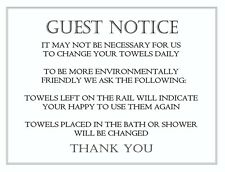 2 x TOWEL CONSERVATION NOTICE  BATHROOM VINYL STICKERS, HOTEL, GUEST HOUSE, B&B