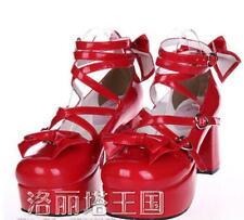 Womens Lolita Sweet Bowknot Platform Mary Jane Block Heel Pumps Cosplay Shoes sz
