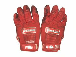MIKE PAPI COLUMBUS CLIPPERS GAME WORN USED FRANKLIN BATTING GLOVES HONEY HUNTERS