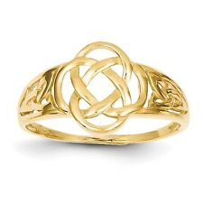 14k Yellow Gold Polished Ladies Celtic Knot Claddagh Ring. Metal Wt-2.17g