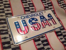 NOS USA-1 Small Hole Dealer License Plate GM  Chevrolet Vintage Camaro nova SS