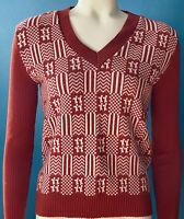 Vintage 70s Small Beldoch Popper Womens Sweater Burnt Sienna Or Rust And White