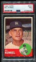 1963 Topps Baseball #523 BILL KUNKEL New York Yankees PSA 7 NM