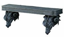 Medieval Fantasy Double Sentinel Dragons Sculptural Wall Floating Shelf 38 Inch