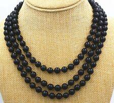 "New 8mm Round Black Onyx Gemstone Bead Necklace 50 ""Fashion PN280"