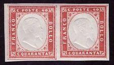 SARDEGNA 1863 - 40 c. n. 16F COPPIA INTEGRA VARIETA' POSIZ. 12
