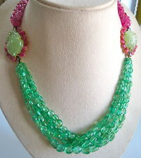 COLOMBIAN EMERALD OLD MINES RUBY BEADS CARVED STONES NECKLACE 18K GOLD