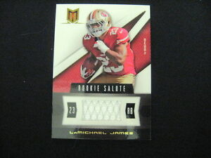 LAMICHAEL JAMES EVENT-WORN JERSEY RELIC CARD--2012 MOMENTUM #'D TO 375