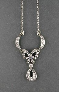 9901067 925er Silber Art déco Collier Schleife Swarovskisteine L42cm