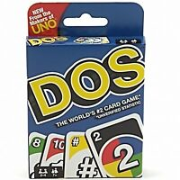 Uno DOS Card Game Colorful Classic Teams Version Mattel 2-4 Players