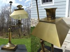 VINTAGE table lamp antique BRASS oil METAL SHADE office candle stick TALL old