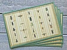 Laser Printed Beetles Bugs Split Bamboo Placemats Set/4