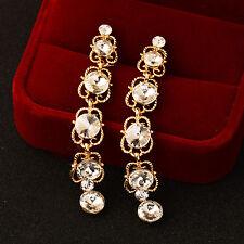 Vintage Gothic Style White/Black Rhinstone Hollow Long Dangle Earrings For Women