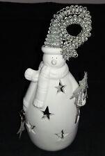 Ceramic Novelty Christmas Snowman Tea Light Candle Holder
