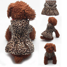 Pet Dogs Leopard Dress Tops Puppy Cotton Hoodie Clothes