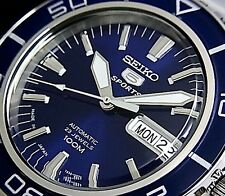 NEW MEN'S LUXURIOUS SEIKO 5 SPORTS 23 JEWEL AUTOMATIC BLUE DIAL WATCH SNZH53J1