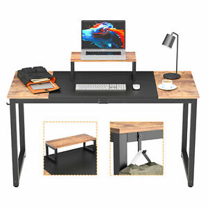 Computer Desk 55'' Study PC Gaming Desk Table Writing Desk Wood Home Office Desk