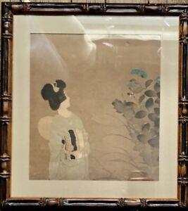 Ito Shinsui Original Shin Hanga Japanese Wooblock Print Takasago Kimono 1931 NR