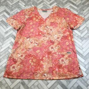 Greys Anatomy Barco Scrub Top Shirt Womens Size Medium Pink Floral V-Neck Pocket