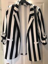Black & White Striped Casual Blazer Size 12 New Look