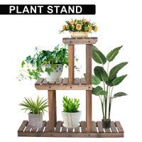 Plant Stand Flower Rack 3 Tier Fir Wood Shelf Outdoor Indoor Corner Garden Decor