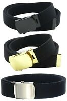 CANVAS MILITARY WEB BELT BUCKLES AND TIPS (BLACK SILVER GOLD) WHOLESALE PRICE