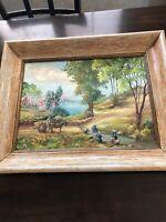Vintage Oil Painting Landscape California Artist Evelyn Dilly Hunt Nadeau