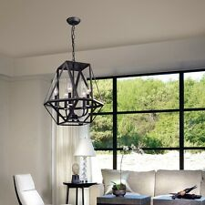 Black Iron Chandelier Industrial Style Hanging Light Kitchen Entryway 5 Bulb