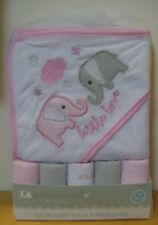 Petite L'Amour Little Love Elephant 6 Pc Hooded Towel & Washcloths Baby Gift Set