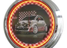 N-0296 Abarth Fiat 500 - Deko Neon Uhr Clock Wanduhr Neonuhr Neonclock Werkstatt