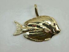 14K Costello Fish Pendant with Ruby Eye