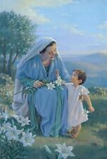 Kathy Lawrence BLESSED AMONG WOMEN 14x11 double matted print, Mary & boy Jesus