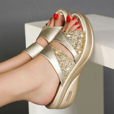 Womens Wedge Sandals Slippers Ladies Slip On Summer Sequin Mules Shoes Size 4-10