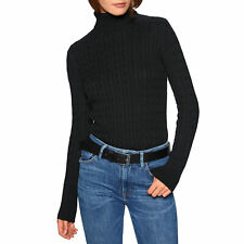 Superdry Croyde Cable Roll Neck Femme Pull Sweater - Black Toutes Tailles