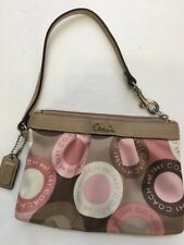 COACH SOHO PINK TAN BROWN SNAPHEAD PLEATED SIGNATURE WRISTLET