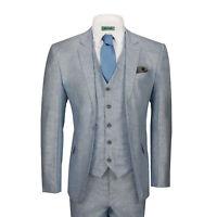 Mens 3 Piece Linen Cotton Suit Light Blue Tailored Fit Smart Casual Retro Jacket