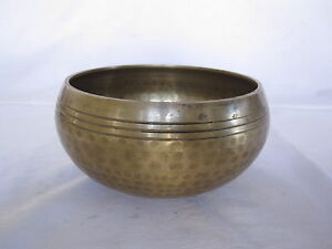 Old Bell Metal bronze hand hammered chakra healing singing bowl 12cm