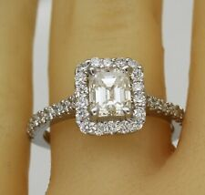 Flawless GIA Certified Diamond Engagement Halo Ring 3.13 CTW Emerald Cut 18k